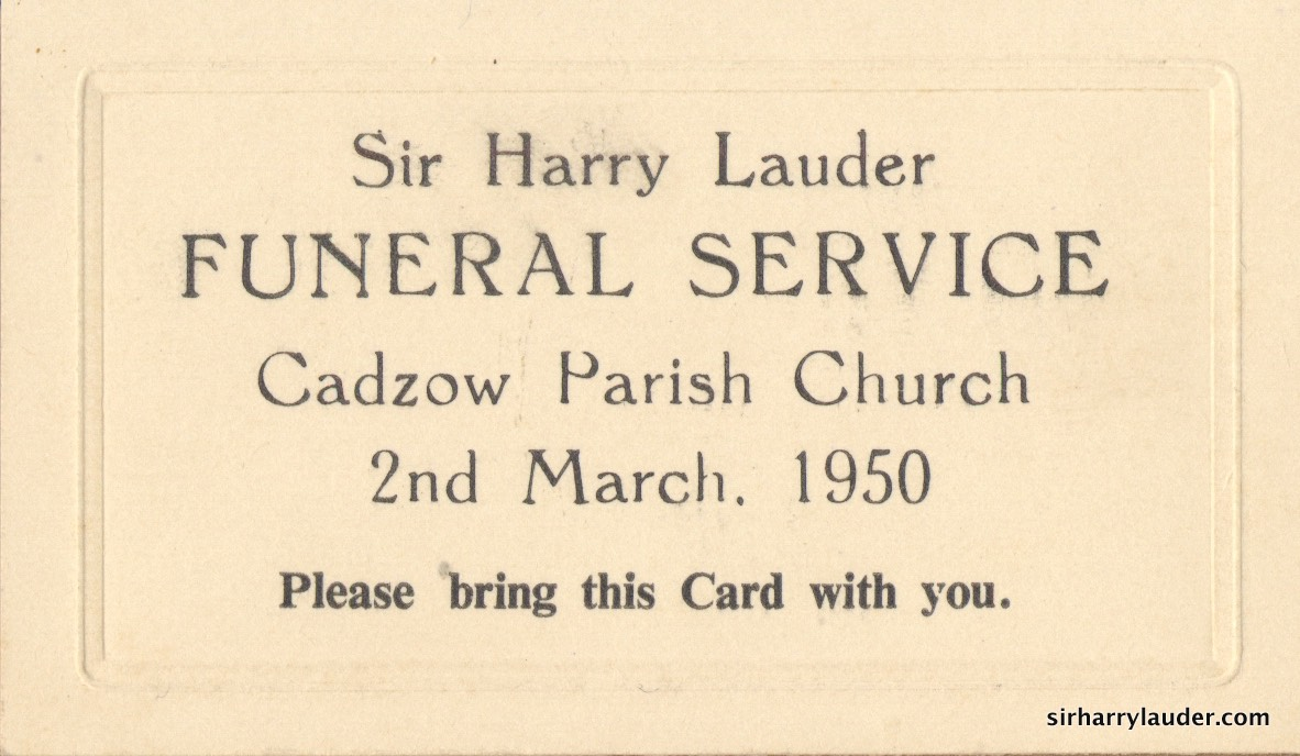 Admission Card To Funeral Service Of Sir Harry Lauder 2nd Mar 1950