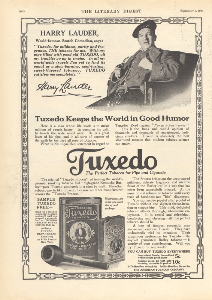 Promotion For Tuxedo Tobacco Litery Digest Sep 5 1914