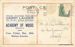 Advertising Post Card Brooklyn Academy Of Music Dec 1918 Reverse