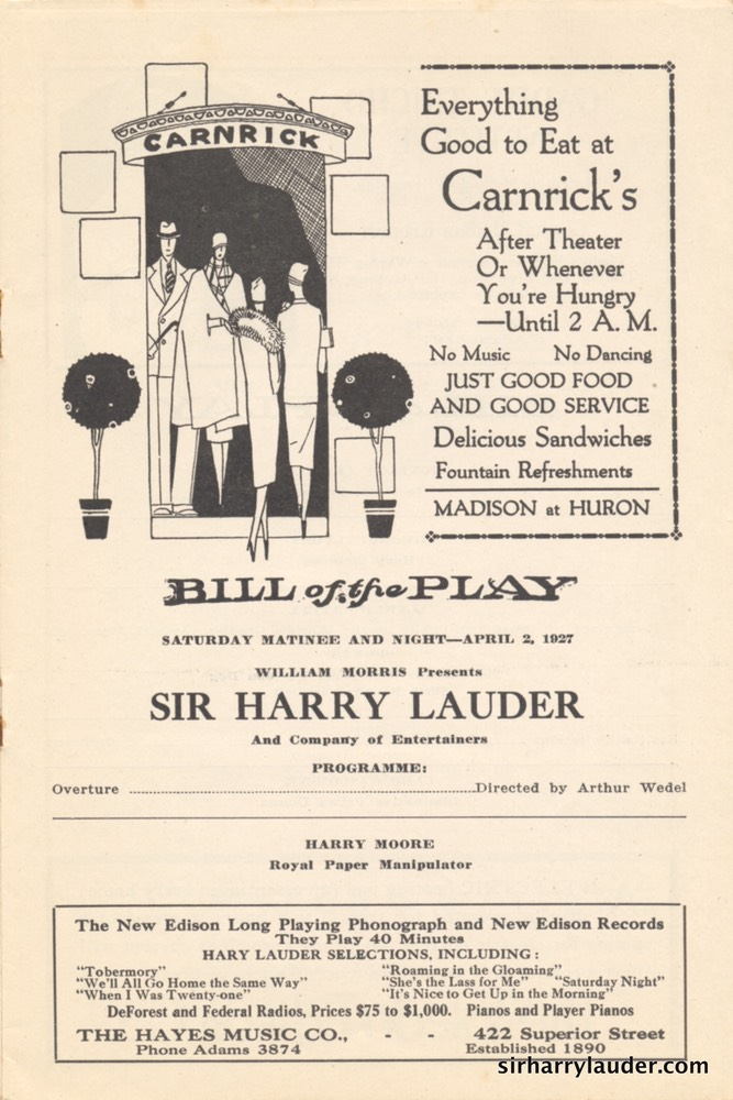 Auditorium Theatre Toledo Ohio Programme Booklet Apr 2 1927 -2