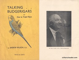 Booklet Training Budgerigars With Photo Of Sir Harry 1947