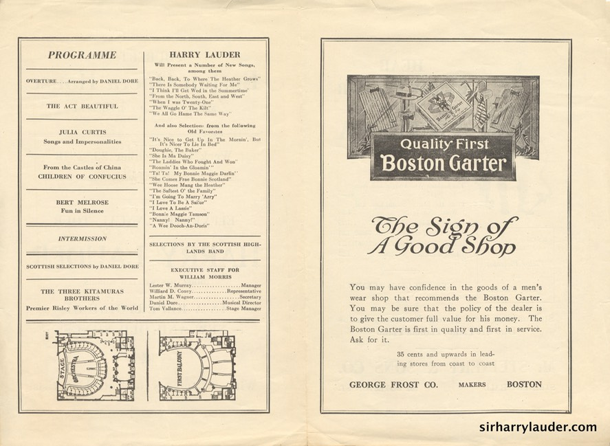 Boston Opera House Programme Bi-Fold Dec 23 1918 Reverse