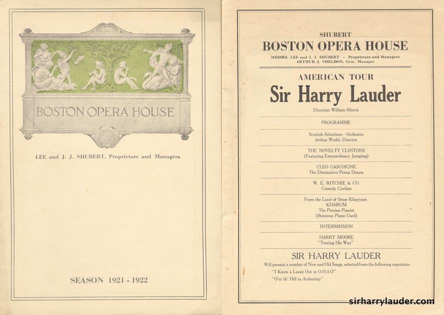 Boston Opera House Programme Booklet 1921 22 -1
