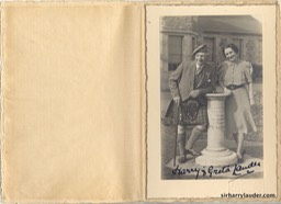 Card With Photo Of Sir Harry & Greta Lauder Inscribed and Signed By Sir Harry To Lord Provost Steele Undated Inside