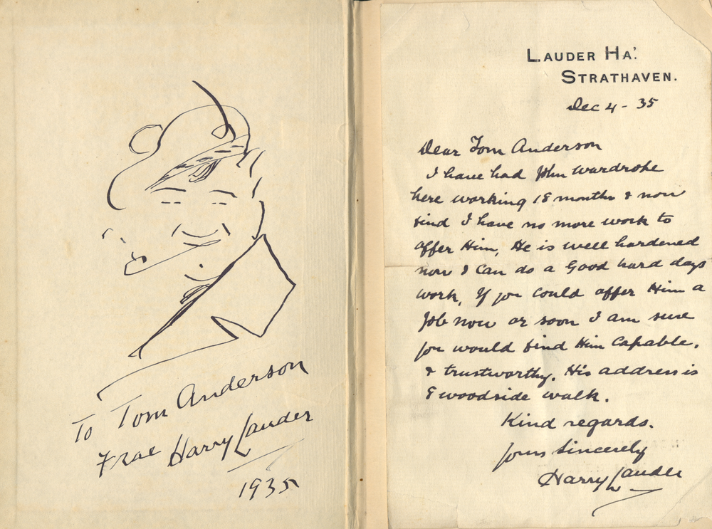 Caricature Dedication & Letter to Tom Anderson A Minstrel iIn France Dec 4 1935