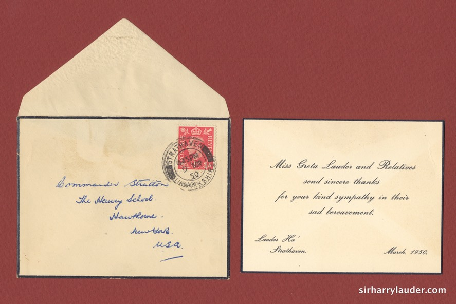 Condolence Acknowledgement Of Death of Sir Harry With Envelope March 1950