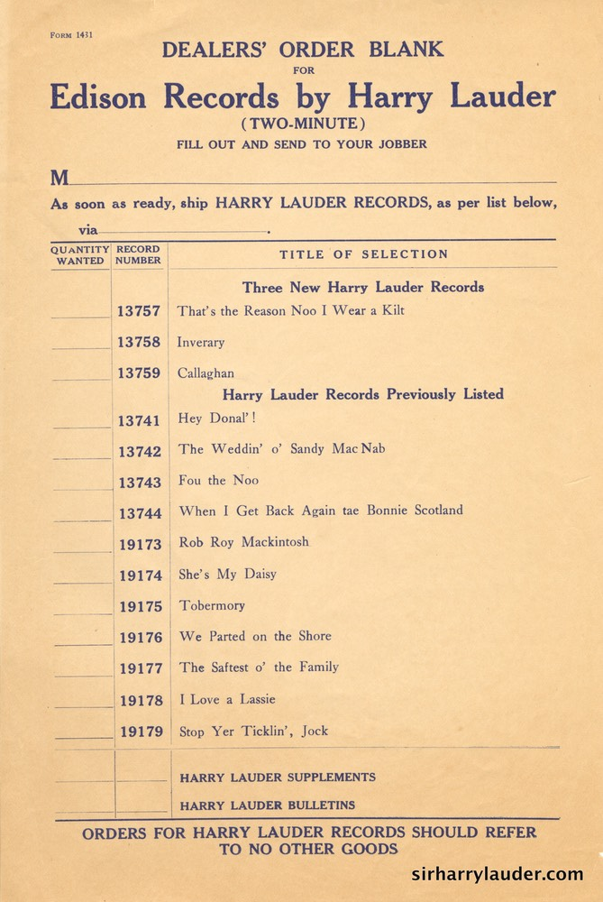Edison Company Dealers Order Blank For Harry Lauder Records 1909?