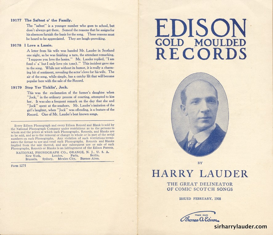 Edison Company Pamphlet For New Lauder Records Feb 1908**** -1