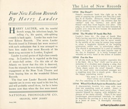 Edison Company Pamphlet Four New Lauder Records Oct 1908 -2