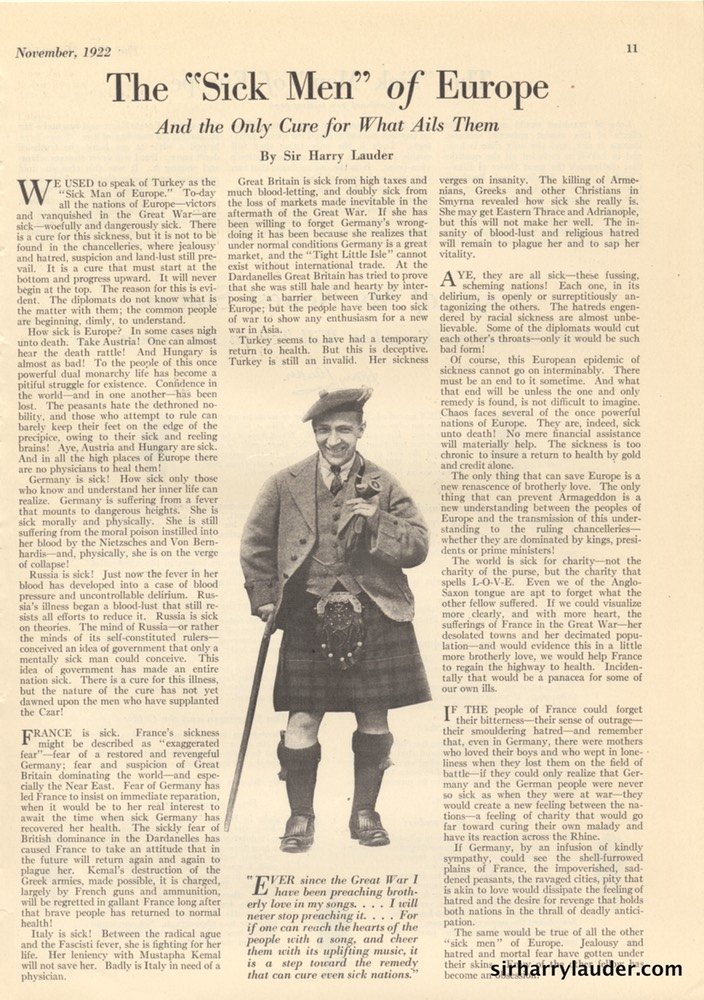 Elks Magazine Sick Men Of Europe By Sir Harry Lauder Nov 1922 -2