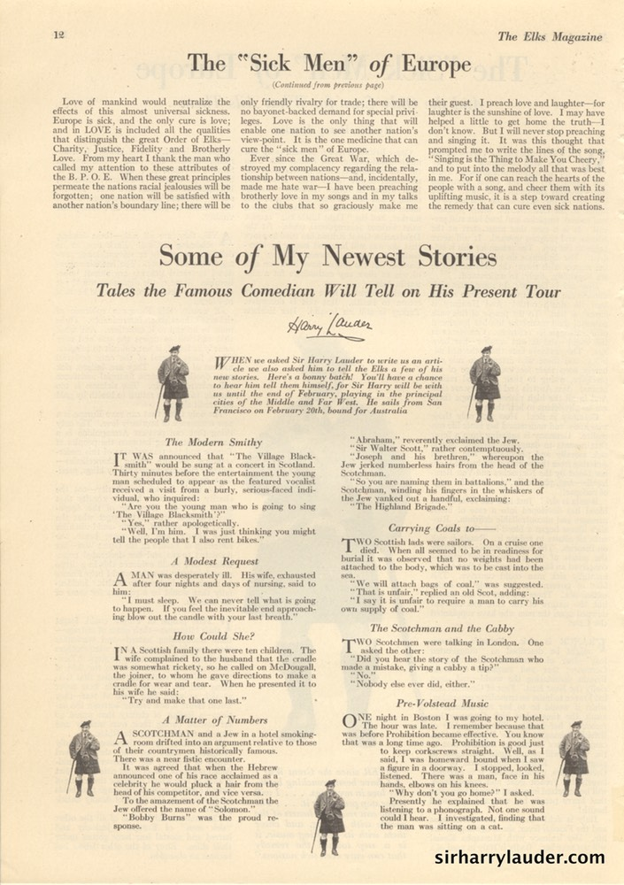 Elks Magazine Sick Men Of Europe By Sir Harry Lauder Nov 1922 -3