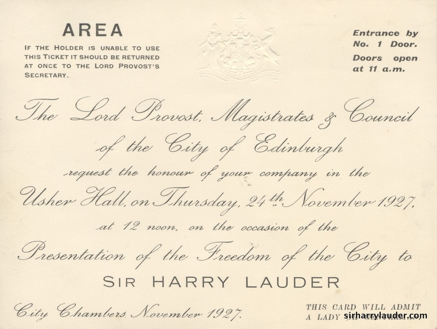 Embossed & Engraved Invitation Card To Presentation Of Freedom Of The City Of Edinburgh 24 Nov 1927