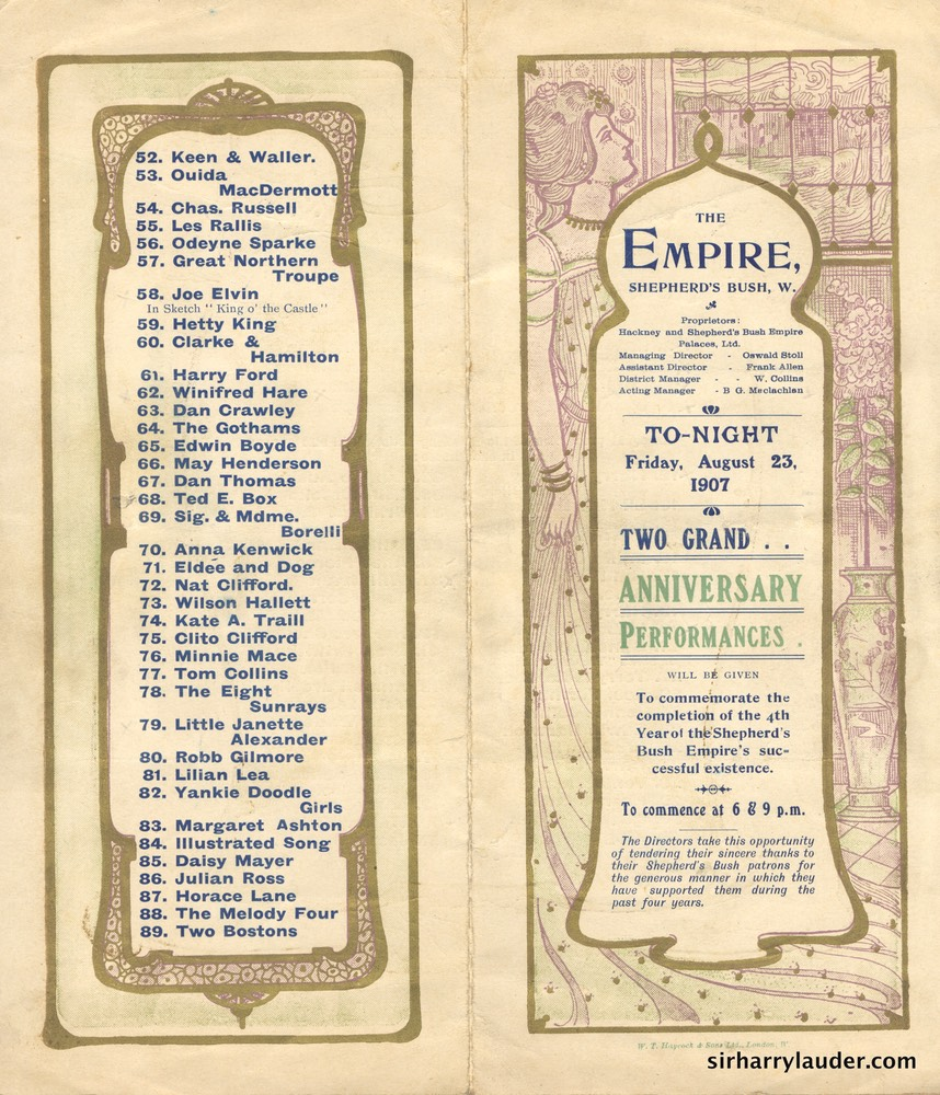 Empire Shepherd's Bush London Programme Bi-Fold Aug 23 1907