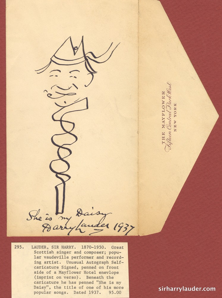 First Owned Self Drawn Caricature Ink With Stick Mayflower Hotel NY Envelope Dated 1937