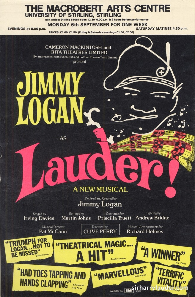 Flyer For Jimmy Logan Show Lauder Stirling Undated