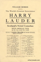 Flyer Harry Lauder 6th American Tour 1914?