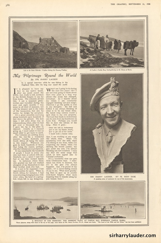 Graphic Magazine Article By Sir Harry My Pilgrimage Round The World Sept 11 1920