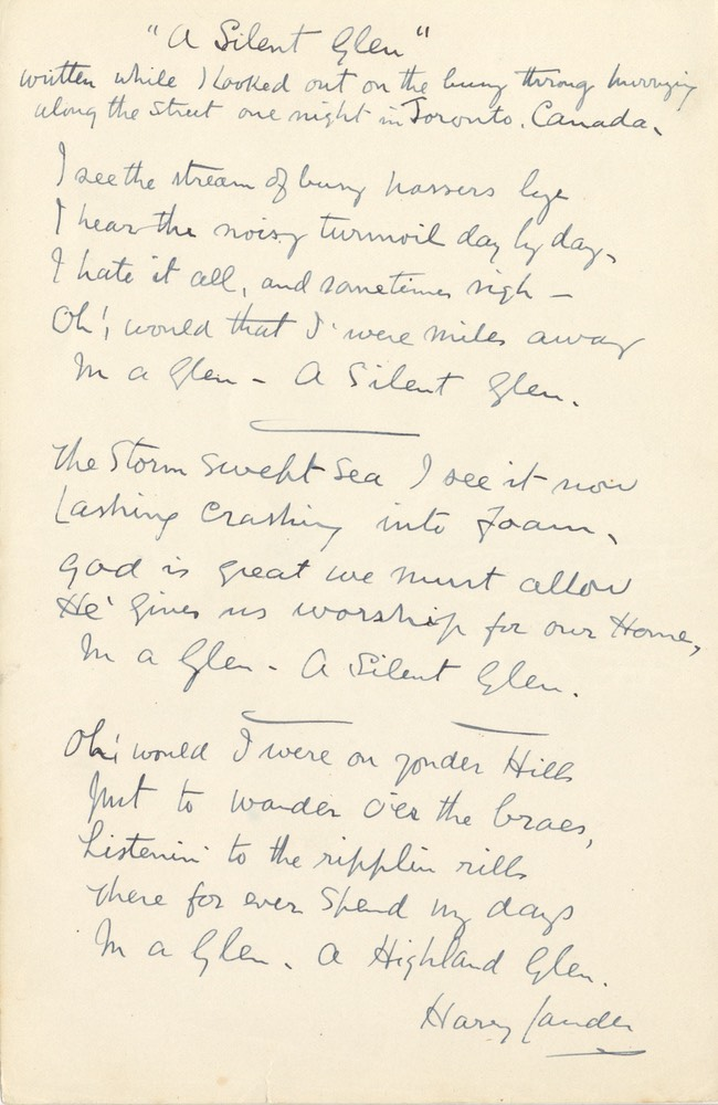Handwritten Verse A Silent Glen Signed Undated