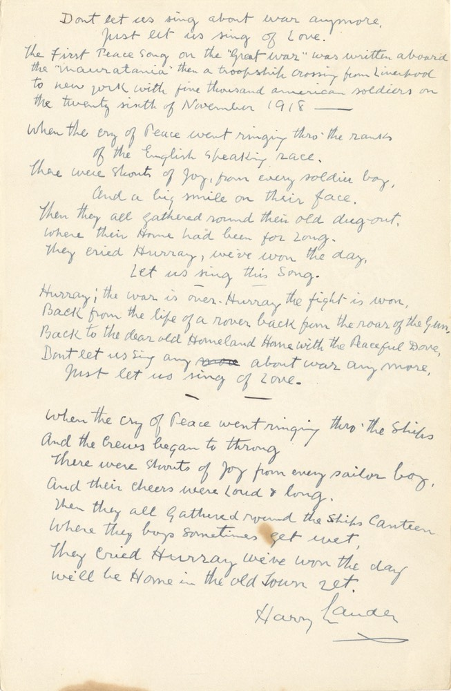 Handwritten Verse Dont Let Us Sing About War Signed Undated