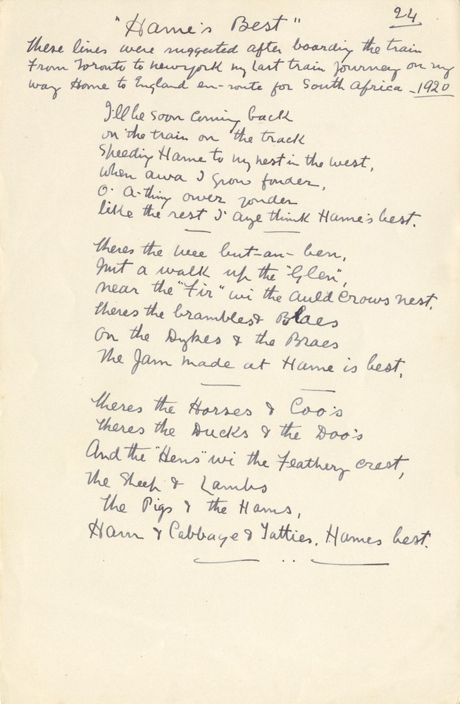 Handwritten Verse Hames Best No 24 Undated