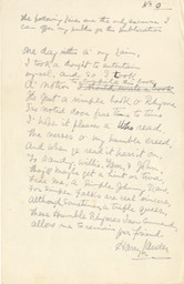 Handwritten Verse Lines for publication No 0 Signed Undated