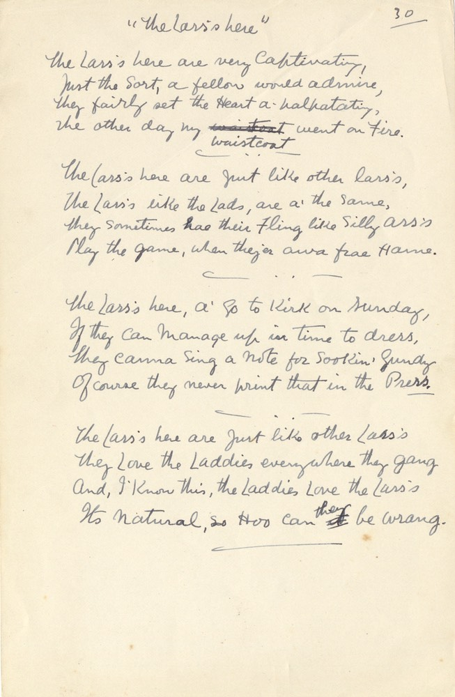 Handwritten Verse The Lass's Is Here No 30 Undated