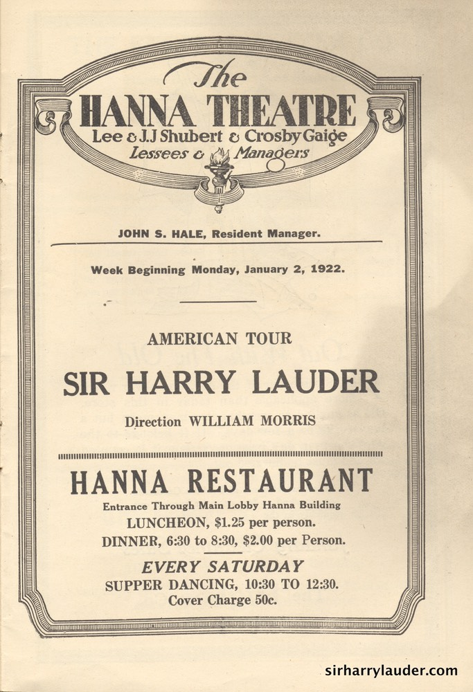 Hanna Theatre Cleveland Ohio Programme Booklet Jan 2 1922 -2
