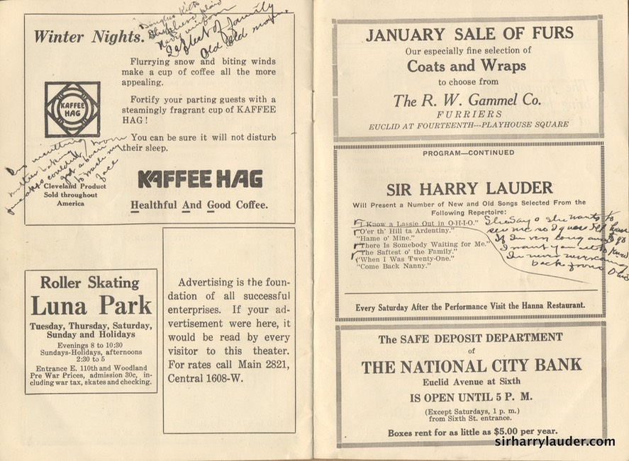 Hanna Theatre Cleveland Ohio Programme Booklet Jan 2 1922 -3