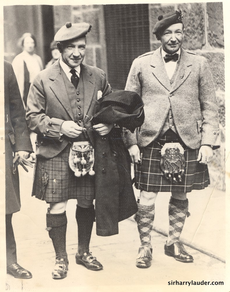 Harry and Alex Lauder Verso Date Stamped Dec 11 1927