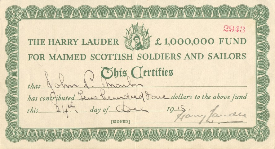 Harry Lauder Fund Certificate Signed By Sir Harry Dated 24 Dec 1918
