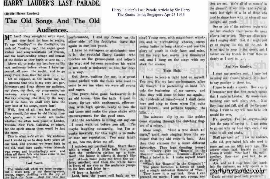 Harry Lauders Last Parade Article by Sir Harry The Straits Times Singapore Apr 23 1933