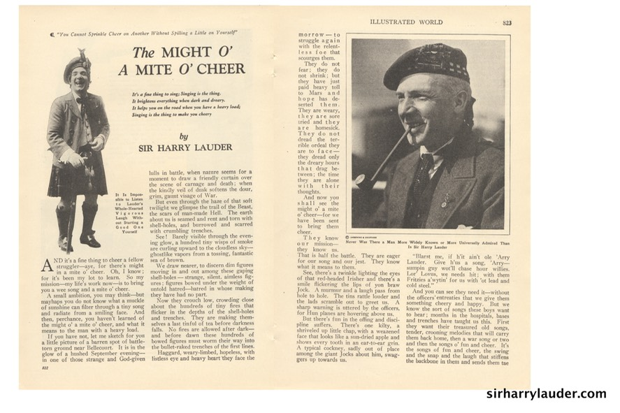 Illustrated World Might Of A Mite O' Cheer Article By Sir Harry Feb 1923 -2