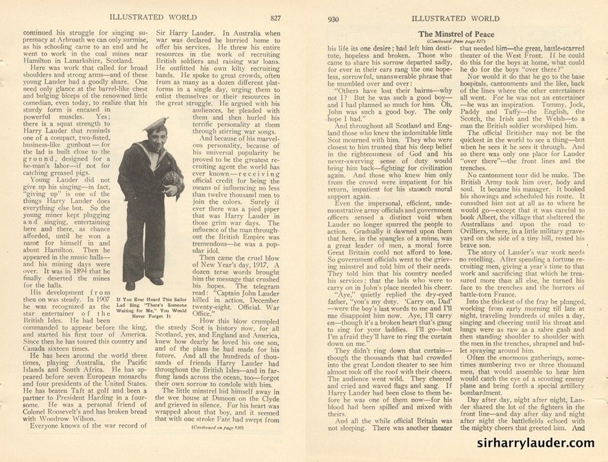 Illustrated World Might Minstrel Of Peace Article By Wm Flemming French Feb 1923 -2