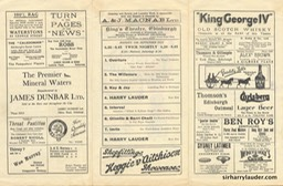 Kings Theatre Edinburgh Tri Fold Programme Sep 11 1933 Reverse