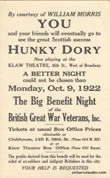 Klaw Theatre New York Hunky Dory Benefit Oct 9 1922**