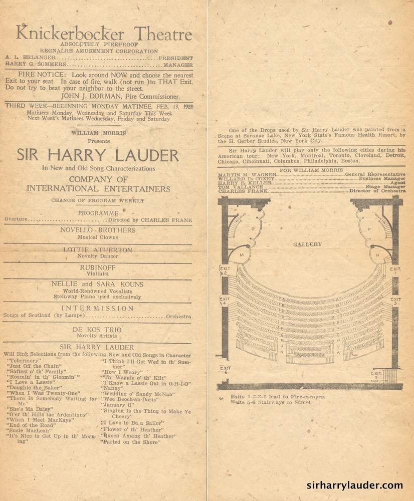 Knickerbocker Theatre New York Programme Single Sheet Feb 13 1928