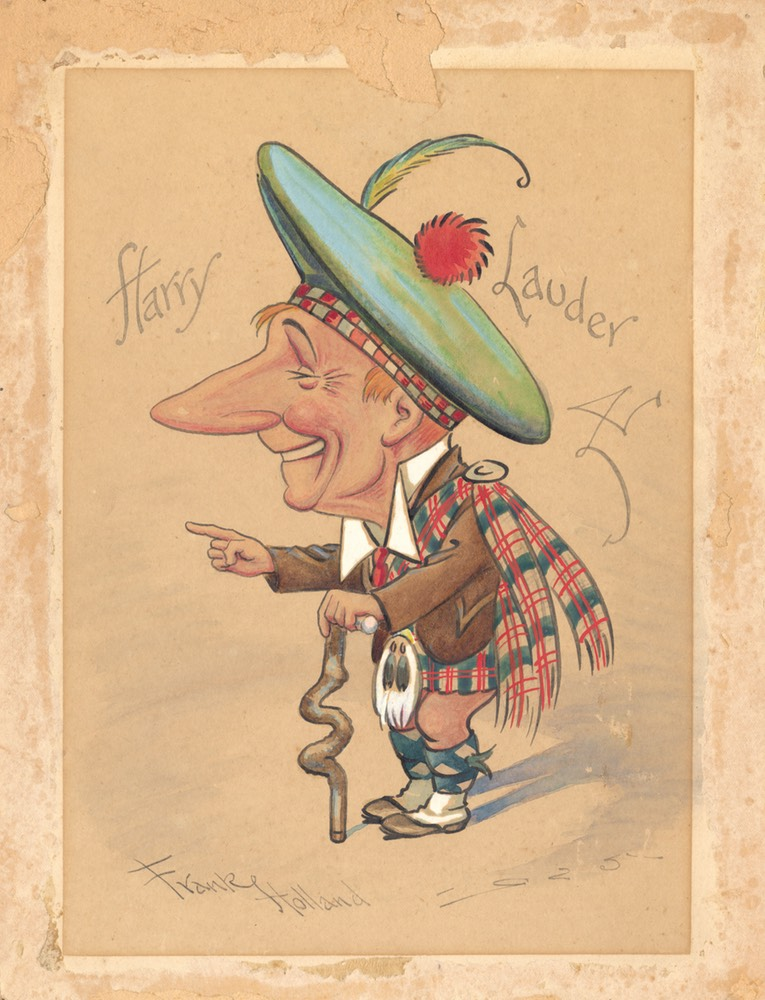 Lauder Caricature Drawn By Frank Holland 1925