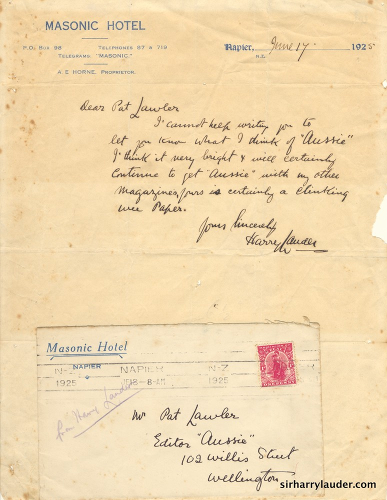 Letter & Envelope Handwritten To Pat Lawler Masonic Hotel Napier NZ Letterhead Jun 17 1925-001