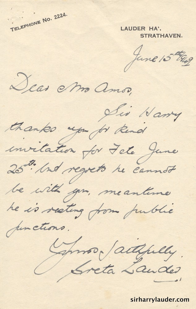 Letter Handwritten From Greta Lauder To Mrs Amos Jun 15 1949