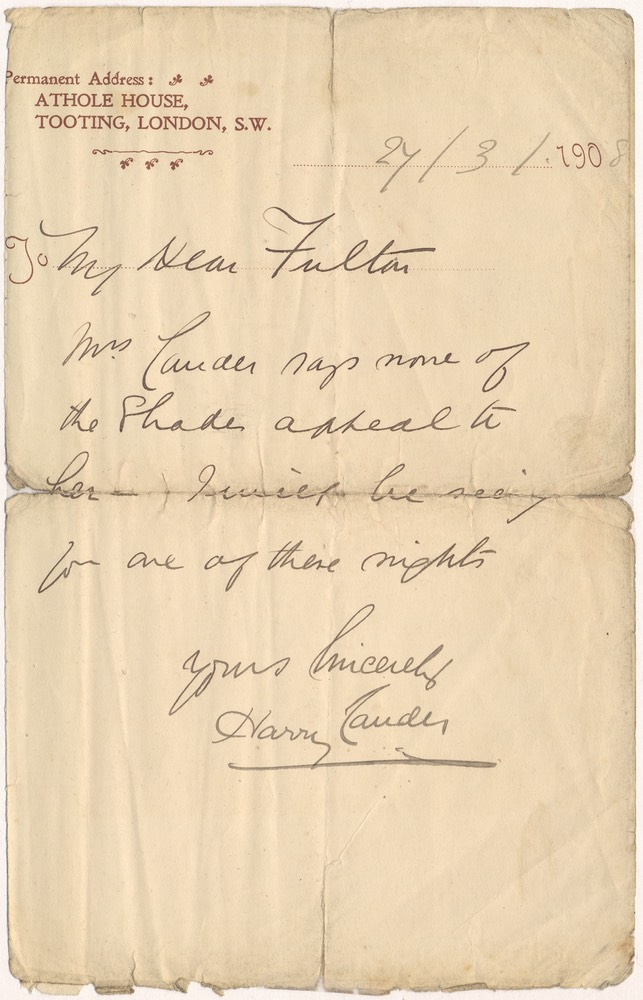 Letter Handwritten from Tooting to Mr Fulton 3 27 1908