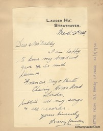 Letter Handwritten Prob By Greta Lauder & Signed By Sir Harry To Mrs Daldy Glued To Album Page Dated Mar 25 193?-001