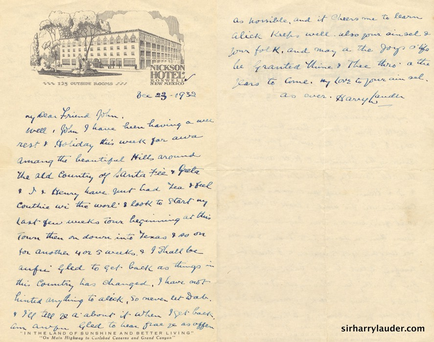 Letter Handwritten To John McKay On Nickson Hotel Roswell NM Letterhead Dec 23 1932