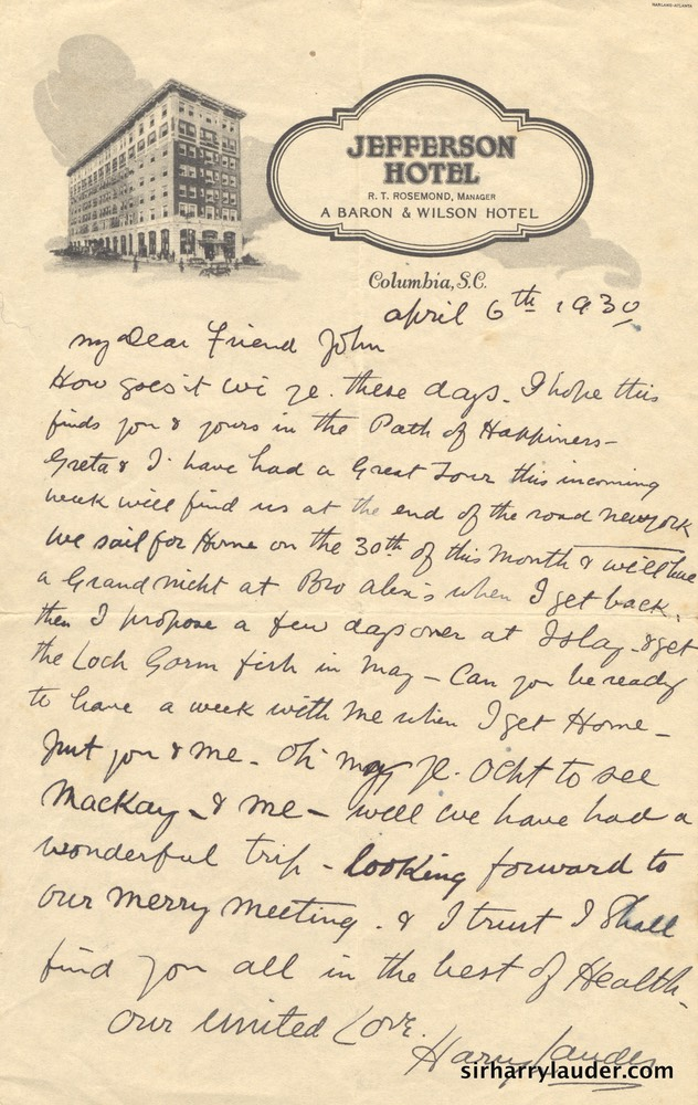 Letter Handwritten To John McKay On Jefferson Hotel Columbia SC Letterhead Apr 6 1930
