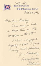 Letter handwritten To Miss Derby On RMS Balmoral Castle Letterhead At Sea Feb 20 1931-001