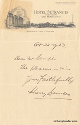 Letter Handwritten To Mr Sample Hotel St Francis SF Letterhead Oct 22 1923