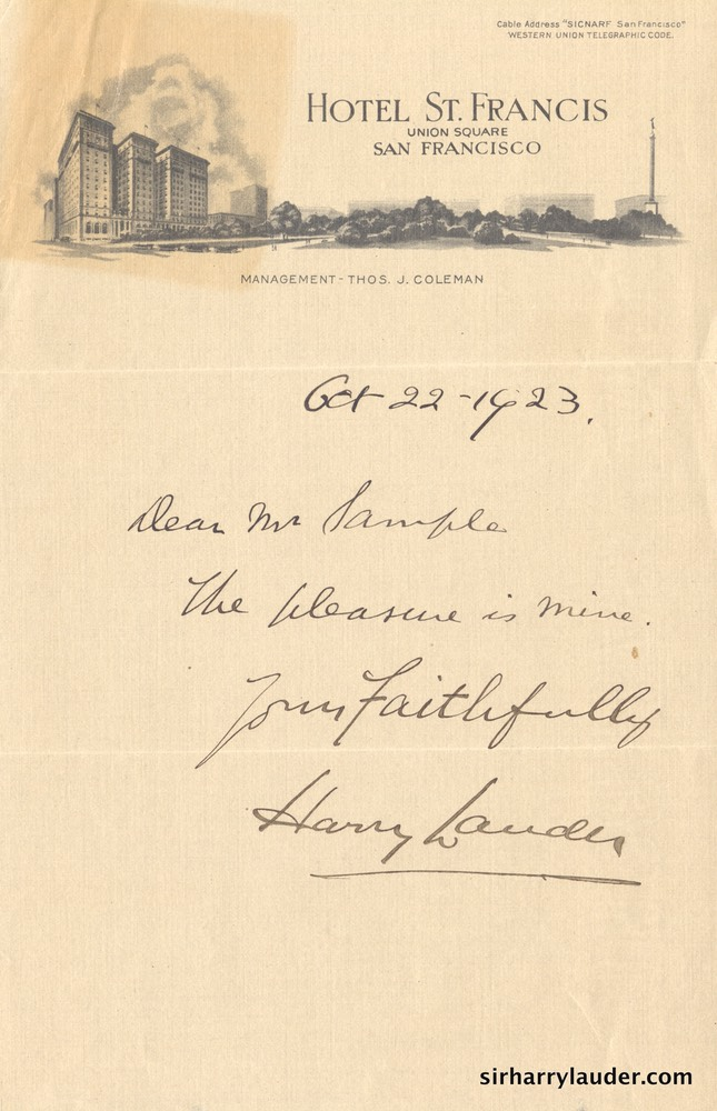 Letter Handwritten To Mr Sample Hotel St Francis SF Letterhead Oct 22 1923-001