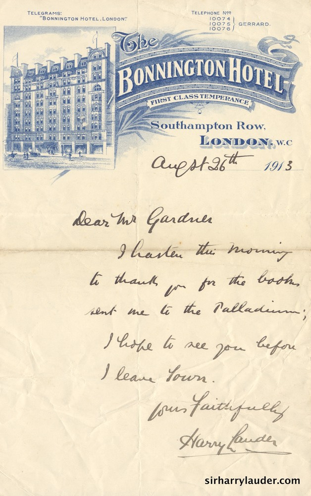Letter Handwritten To Mr Gardner Letterhead Bonnington Hotel London Aug 26 1913-001