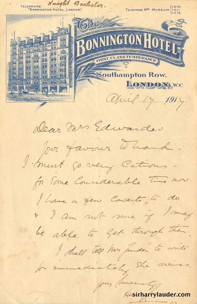 Letter Handwritten To Mrs Edwards Letterhead Bonnington Hotel London Apr 17 1917-001