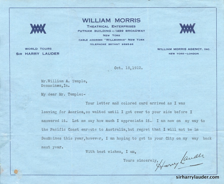 Letter Typewitten & Signed On Wm Morris Letterhead Ti WM Temple Includes Inscribed Photo PC Oct 1922 -002
