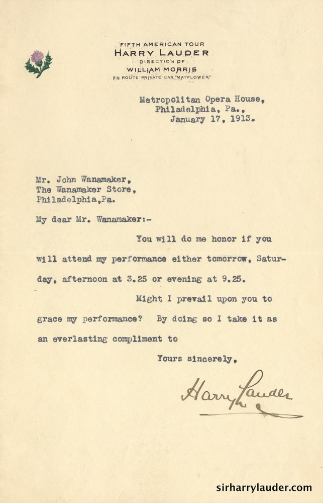 Letter Typewritten To John Wanamaker On Fifth American Tour Letterhead Jam 17 1913-001